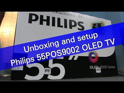 Philips 55POS9002 4K UHD OLED TV Unboxing And Setup
