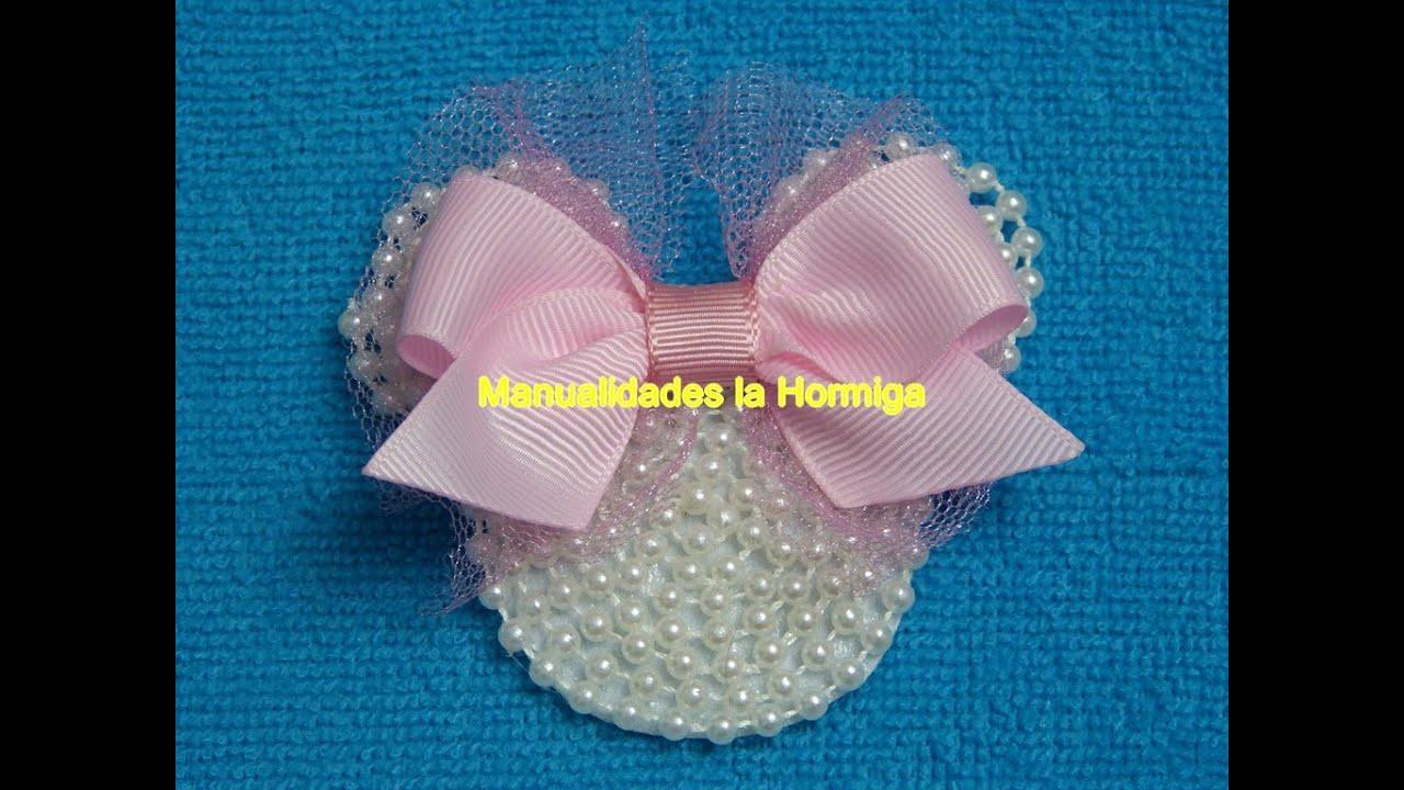Mo o caritas de minnie mouse en foamy y perlas lazo - Lazos grandes para decorar ...