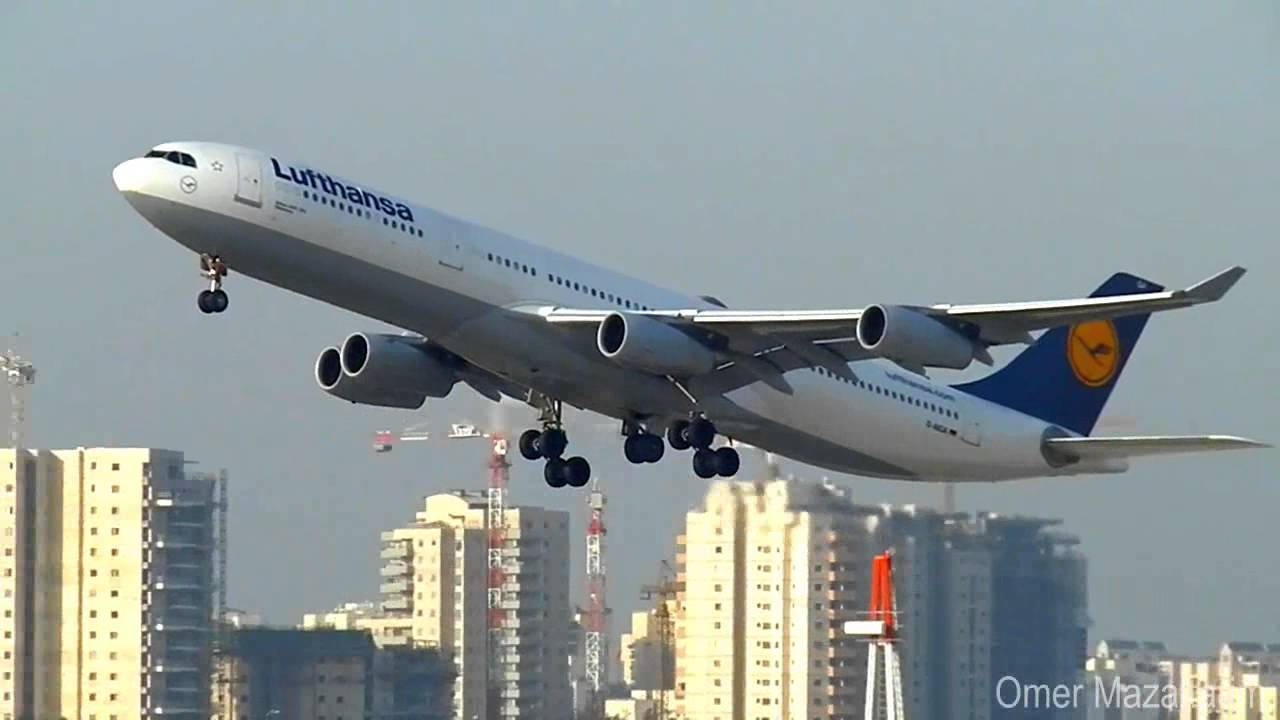 lufthansa airplanes taking off from ben gurion airport 2012 youtube