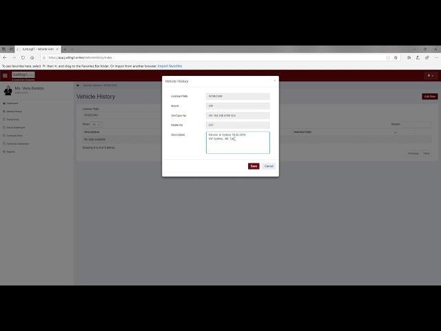 Justlogit.online - Web Application - Enter vehicle history record & run report
