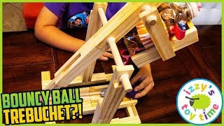 BOUNCY BALL TREBUCHET!! This Thing Launches ACROSS THE ROOM