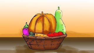 vegetables basket draw drawing easy simple