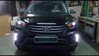 Hyundai Creta установка линз Hella 3r установка ДХО поворот