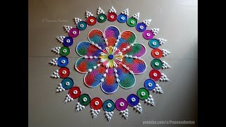Very easy, colorful and attractive kolam using comb and bangles | Easy rangoli by Poonam Borkar