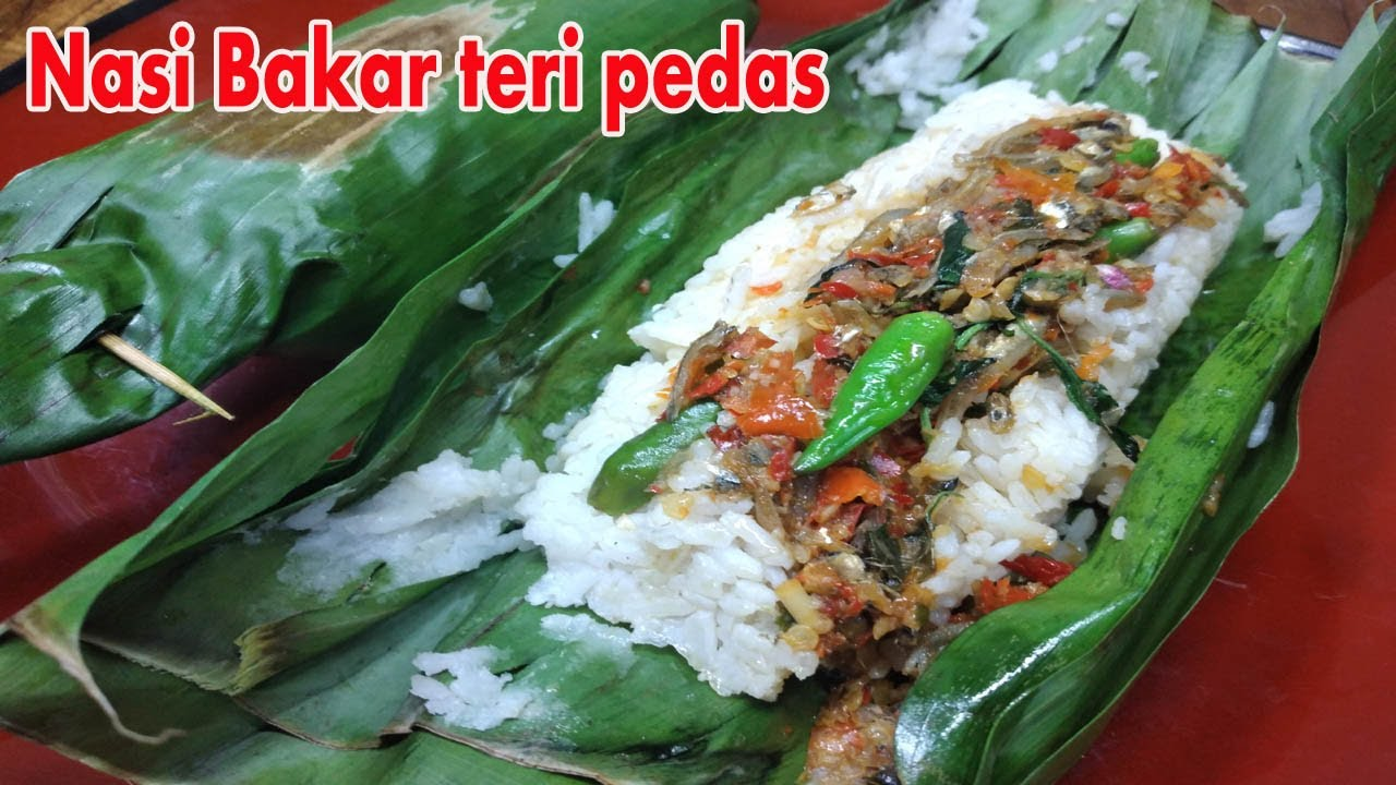 resep nasi bakar teri kemangi  pedas mantap