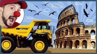 Funny Clown Bob Italy Coliseum & Construction vehicles Excavator Digger Dump Truck Video for kids