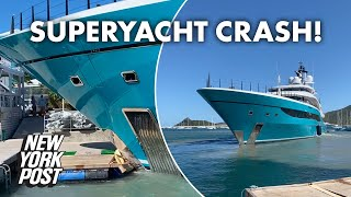 Superyacht crash destroys dock in seconds | New York Post