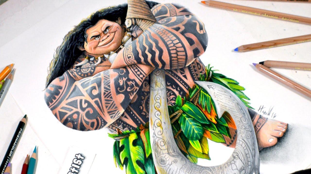 Dibujo Para Colorear De Maui Personaje Película Moana: Speed Drawing Comentado