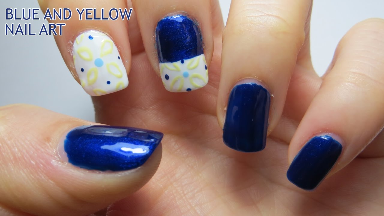 Blue And Yellow Nail Art Youtube