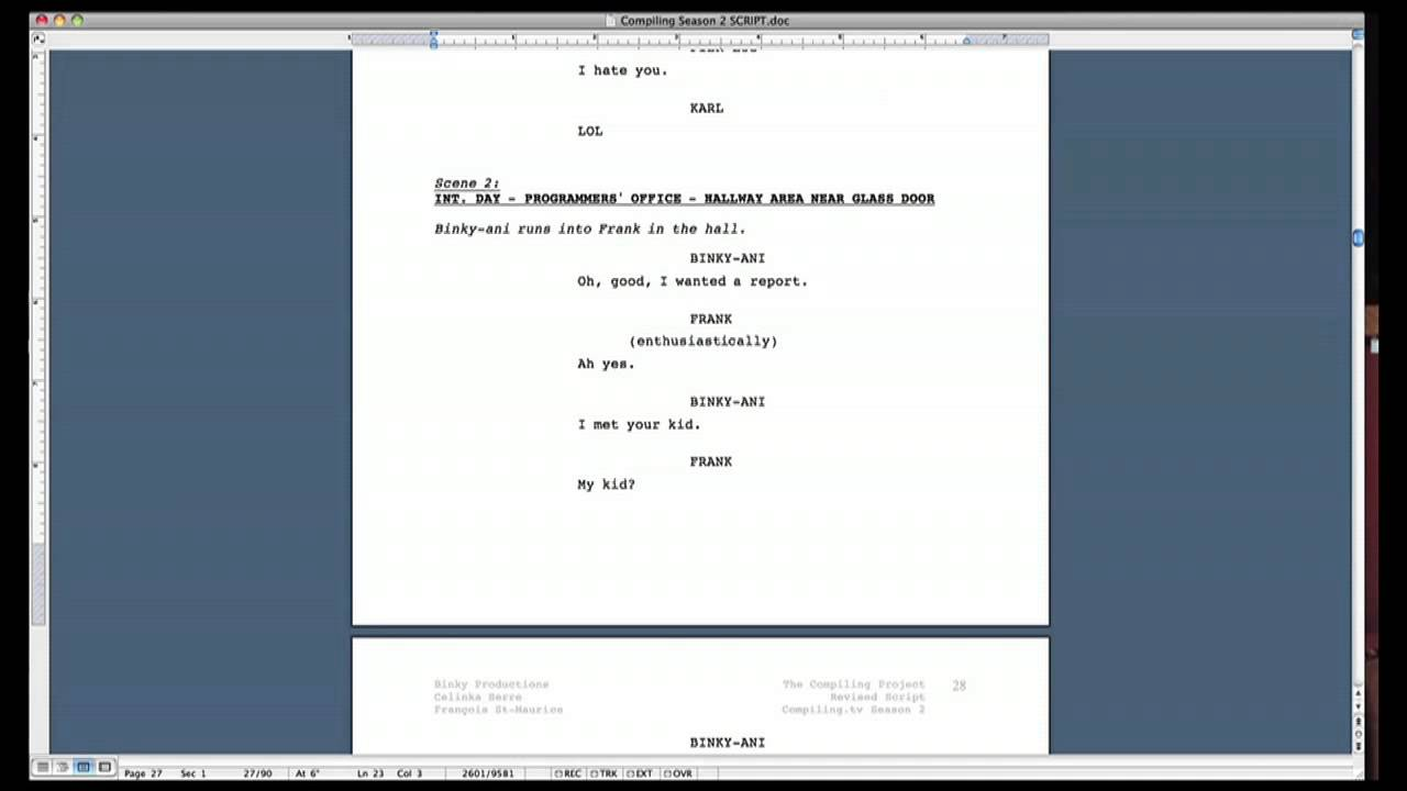 How does a movie script look like