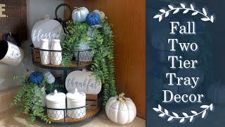 Fall 2 Tier Tray Decor | Fall Coffee Bar | Fall Decorate With Me