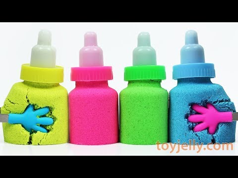 DIY How to Make Kinetic Sand Baby Milk Bottle Learn Colors Baby Finger Song Nursery Rhymes for Kids
