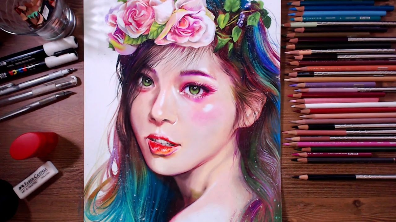 Colored pencil drawing beautiful girl drawholic youtube