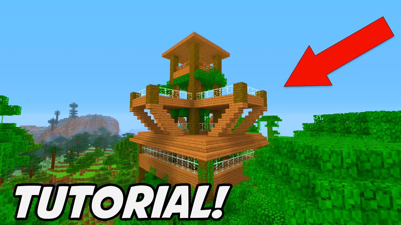 Minecraft jungle house tutorial 2017 big jungle treehouse for Jungle house music