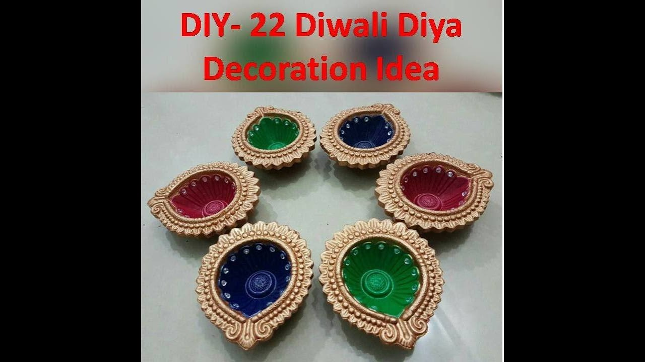 22 diwali diya decoration ideas kunal 39 s design 1 youtube for Diya decoration youtube