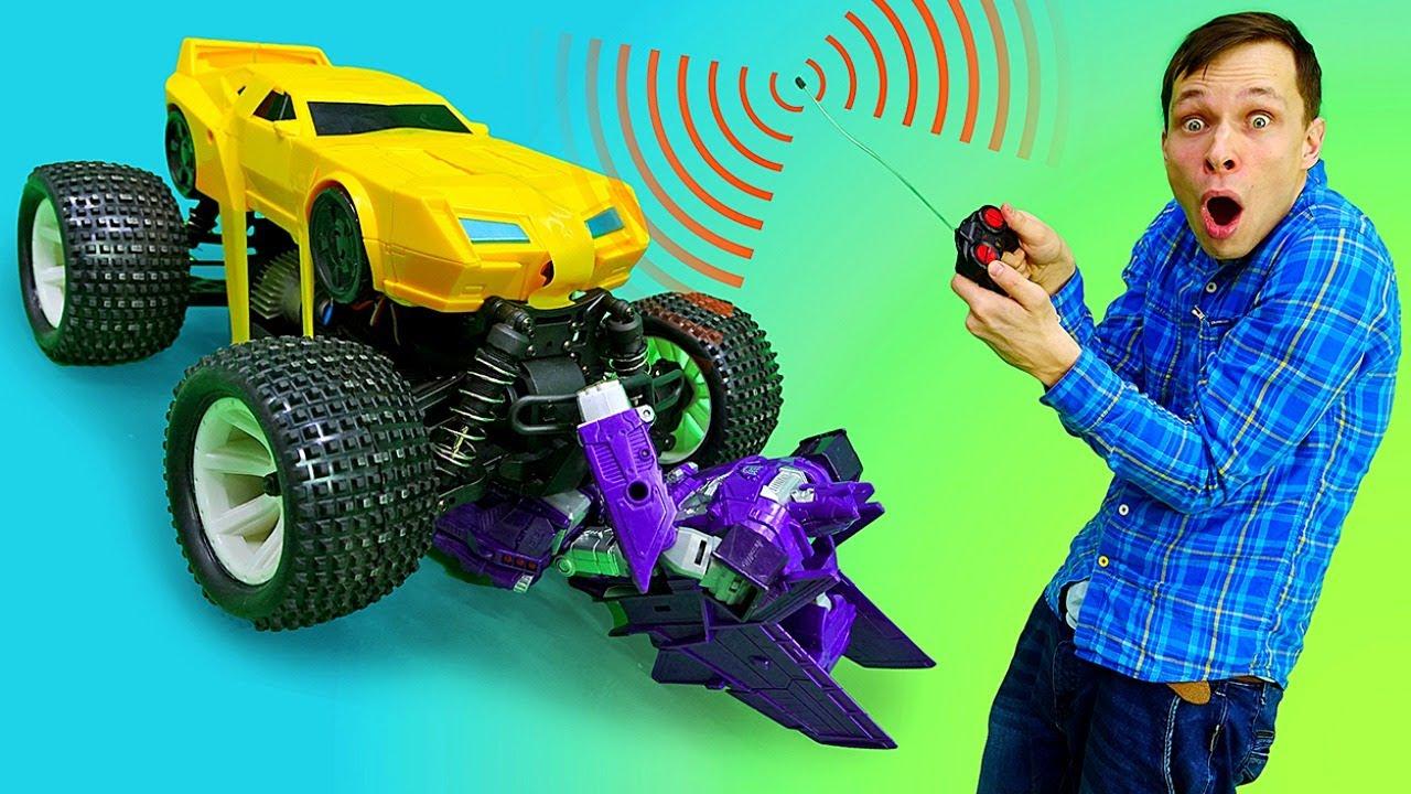 Трансформеры - Прокачиваем Бамблби с Фёдором! – Видео с игрушками в Автомастерской.