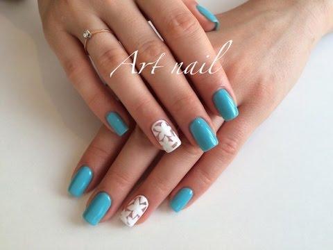 Дизайн цветок на ногтях