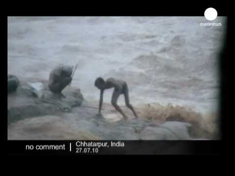 Fishermen stranded by raging flood waters in India - no comment