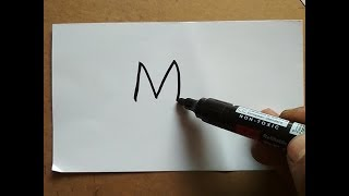 Very Easy !! How to Draw a turn Word M into a Rat drawing for kids