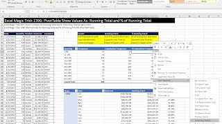 Excel Magic Trick 1396: PivotTable Show Values As: Running Total and % of Running Total (2 Examples)