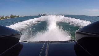 Just the soothing sounds of a Cigarette Racing boat with supercharged big blocks