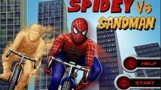 Bike games *Spiderman VS Sandman bike game* AMAZING FINISH