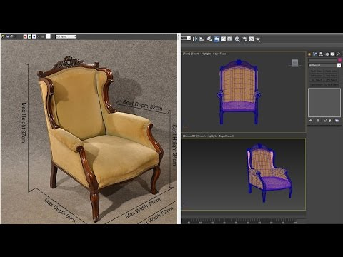 3dsmax tutorial - Antique Armchair model