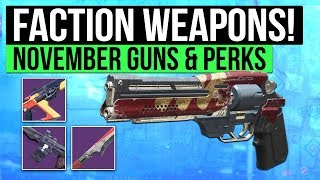 Destiny 2 | ALL NEW FACTION WEAPONS! - November 7th Faction Rally Weapon Perk Rolls & Stats !
