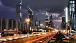 Night Drive on Sheikh Zayed Road, Dubai, United Arab Emirates
