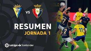 Resumen de Cádiz CF vs CA Osasuna (0-2)
