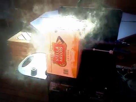 DIY cold smoke generator in action