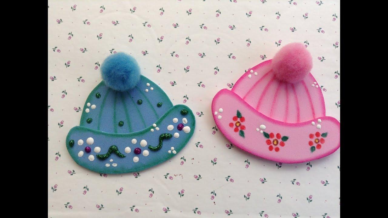 Baby Shower Manualidades Recuerdos ~ Gorritos para baby shower hechos con foamy o goma eva