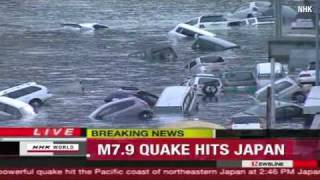 Japanese broadcaster NHK reporting live as the magnitude 9.1 earthquake first hit