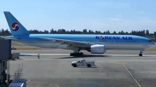 Korean Air 777-200ER Taxi and Takeoff - SeaTac Airport [SEA/KSEA]