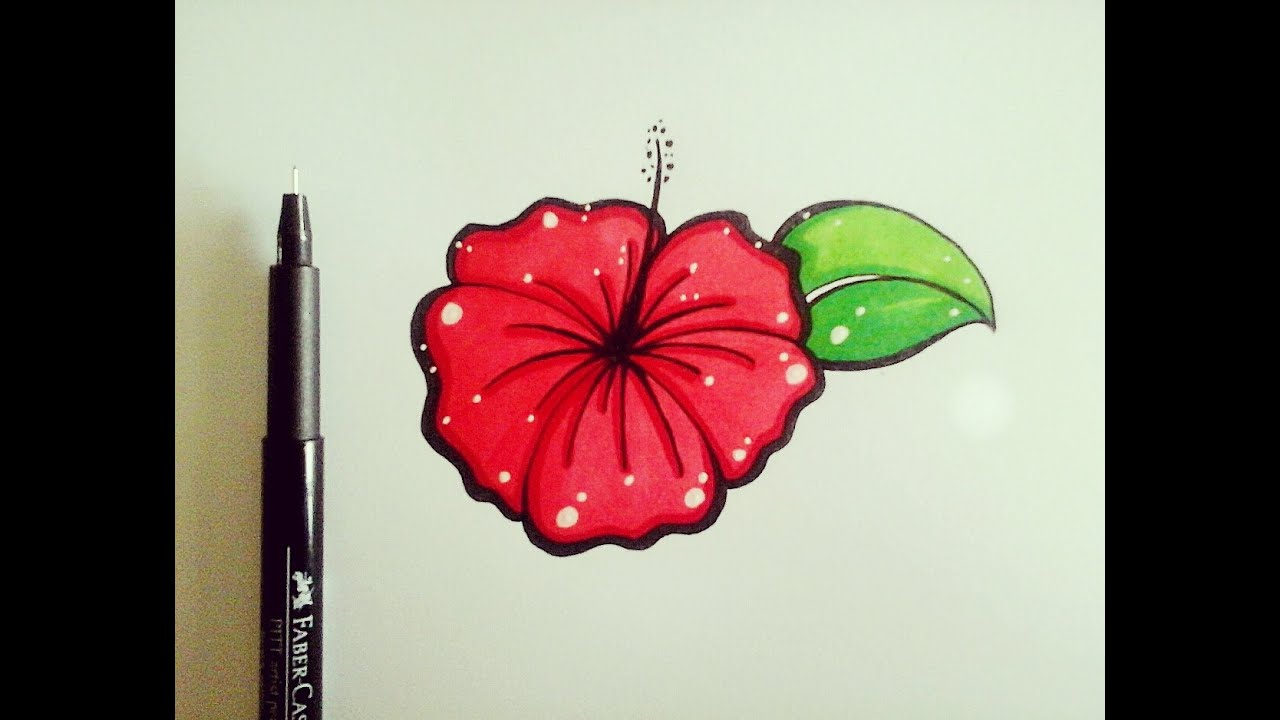 How To Draw Flowers For Beginners Easy Version Hibiscus Flower
