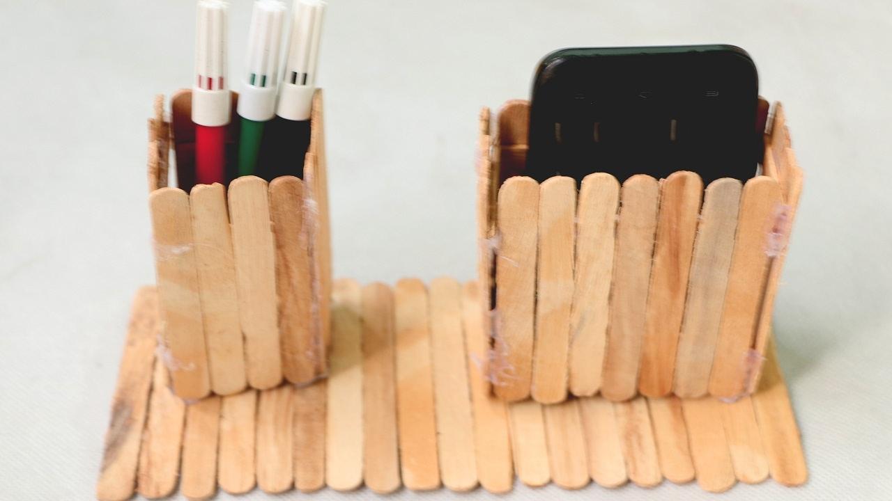 how to make wood pen holder using popsicle stick youtube. Black Bedroom Furniture Sets. Home Design Ideas