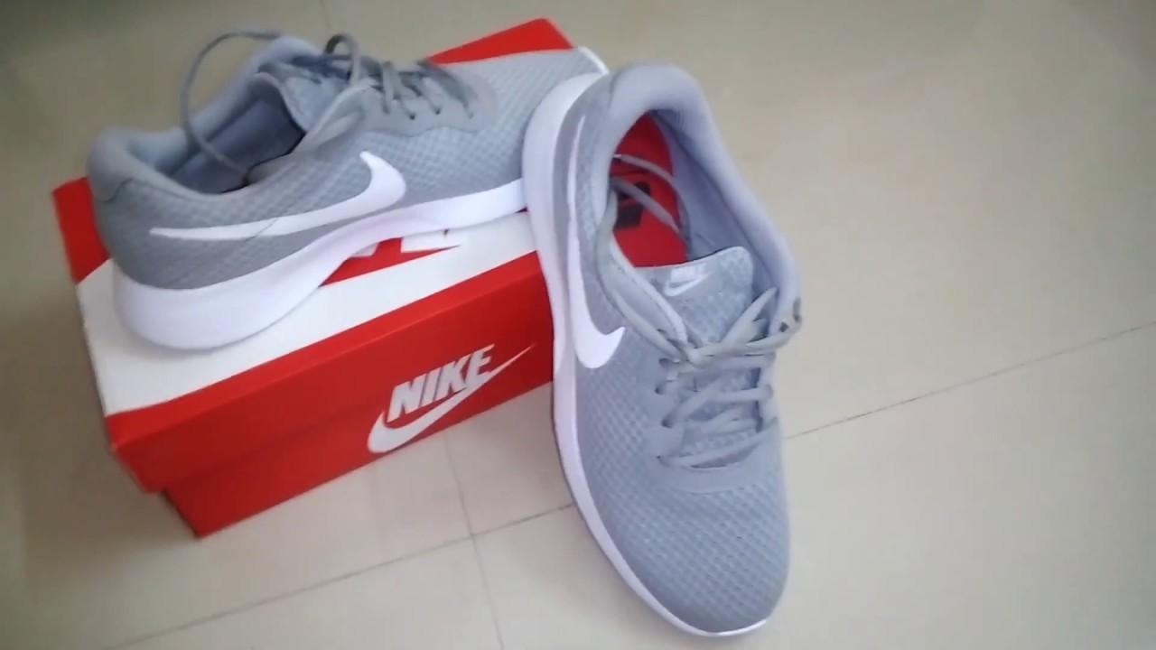 Nike Tanjun Grey White Sneaker Unboxing - YouTube 3d39588f46ee