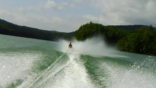 Tommy Barefooting off a slalom ski