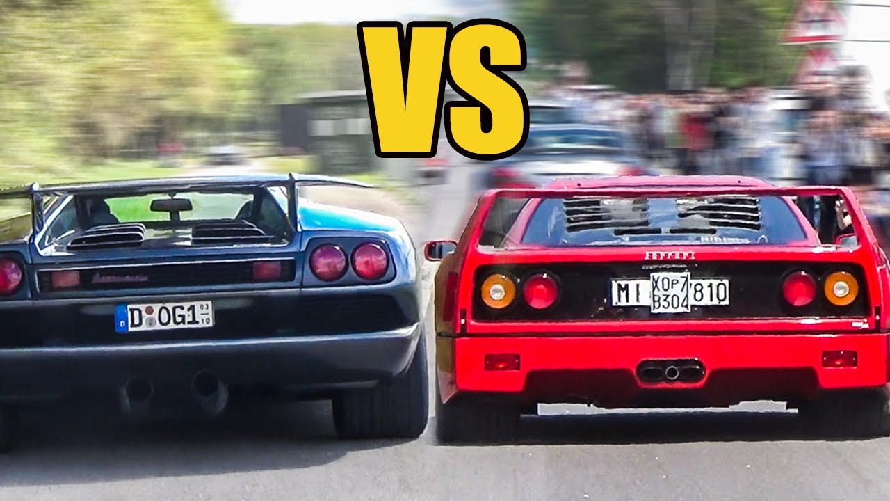 Lamborghini Diablo vs Ferrari F40 , SOUND BATTLE!