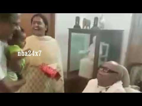Kalaignar Karunanidhi  Latest Video    Healthily playing with his Grandson   nba 24x7