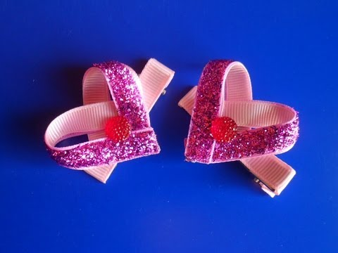 Заколка : Валентинка Канзаши / Valentine kanzashi barrette