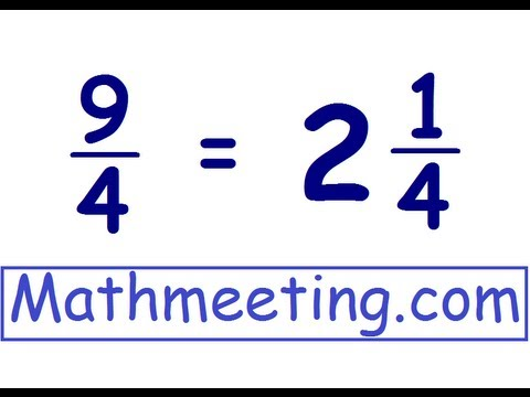 Improper fractions to mixed numbers - YouTube