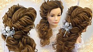 Свадебная причёска на длинные волосы. Греческая причёска.