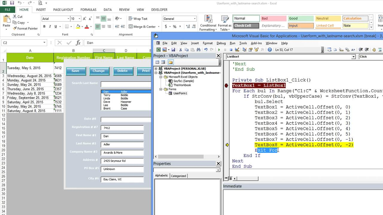 Excel Vba Exiting For Loop And Looking At First And Second
