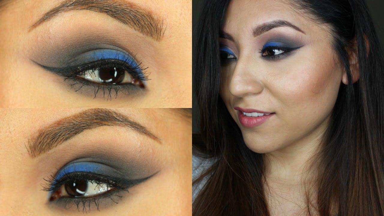 Maquillaje para vestido de noche azul rey