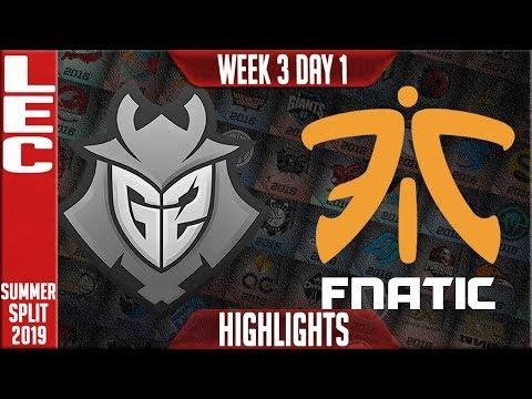 G2 vs FNC Highlights | LEC Summer 2019 Week 3 Day 1 | G2 Esports vs Fnatic