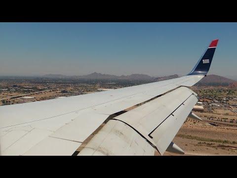US Airways Boeing 757-200 [N909AW] hard landing, taxi, and shutdown in PHX