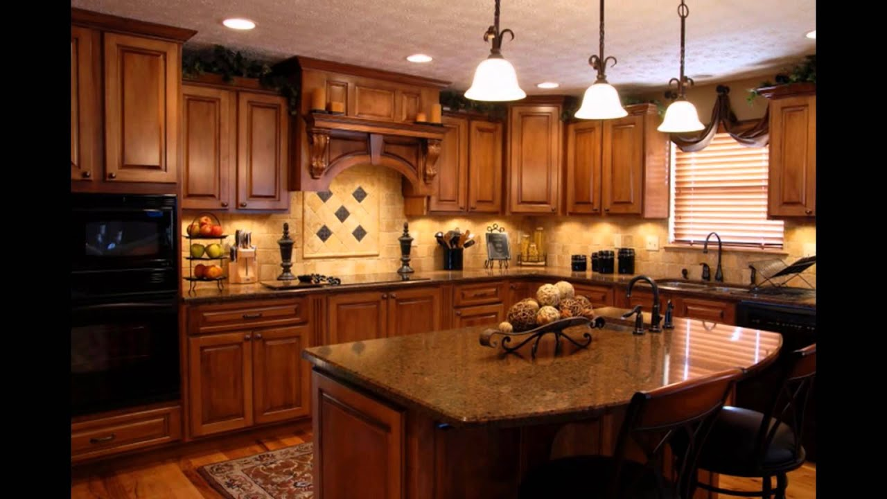 cherry-cabinets-with-black-granite-countertops-marble-kitchen- - YouTube