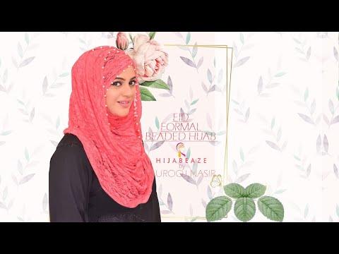 Eid Formal Beaded Hijab Style HIJABEAZE By Urooj