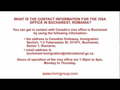 What is the contact information for the visa office in Bucharest, Romania?